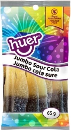 Huer Peg Bag Sour Jumbo Cola Bottle 75g
